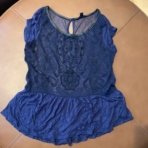 Blue lace  and cap sleeve